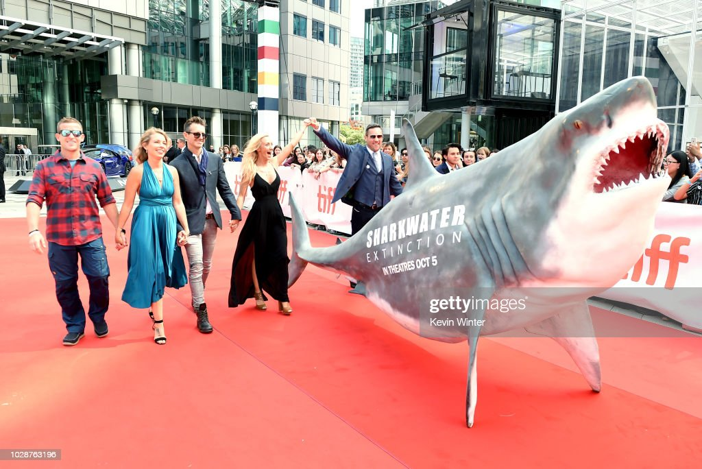 Andy Casagrande, Julie Andersen, Brock Cahill, Regi Domingo, Tyler McCloud, Meiki Heidemeyer, and Jonah Bryson attend the 'Sharkwater Extinction' premiere during 2018 Toronto International Film Festival at Roy Thomson Hall on September 7, 2018 in Toronto, Canada.
