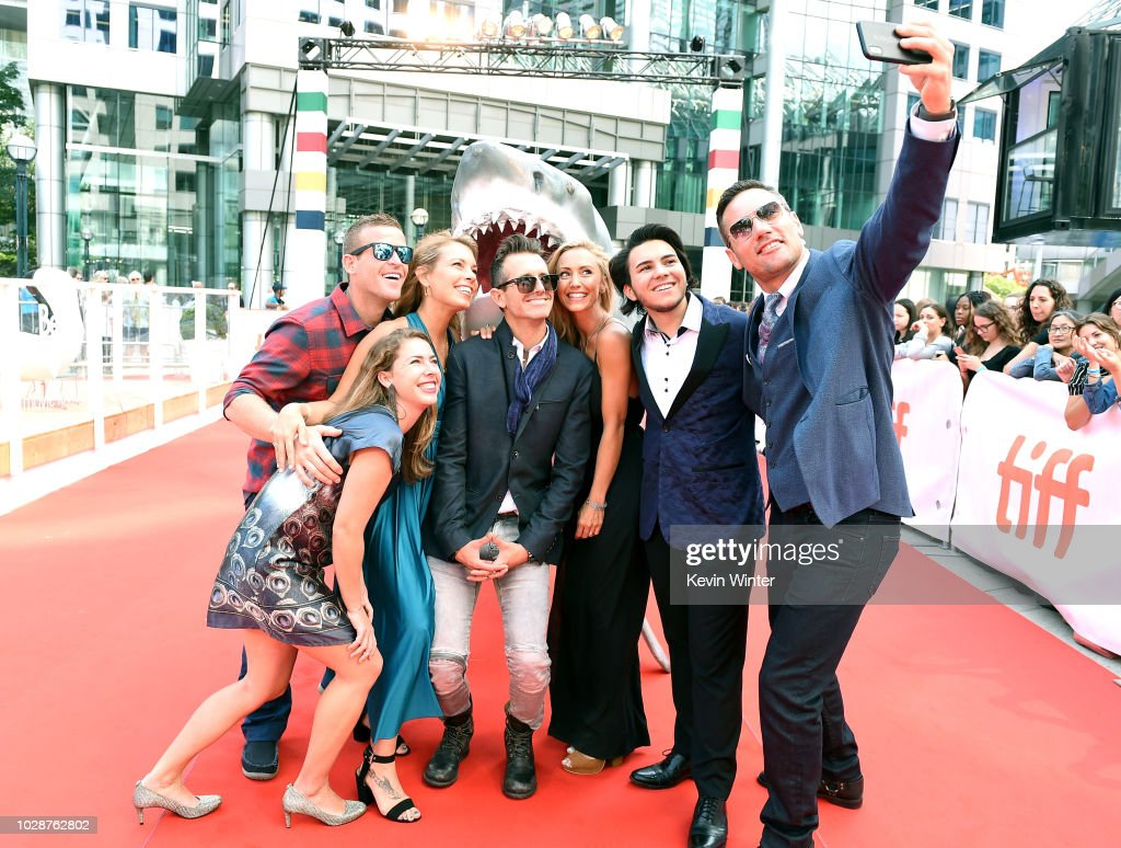 Andy Casagrande, Meiki Heidemeyer, Julie Andersen, Brock Cahill, Regi Domingo, Jonah Bryson, and Tyler McCloud take a selfie together attend the 'Sharkwater Extinction' premiere during 2018 Toronto International Film Festival at Roy Thomson Hall on September 7, 2018 in Toronto, Canada. (Photo by Kevin Winter/Getty Images for TIFF) (L-R) Andy Casagrande; Meiki Heidemeyer; Julie Andersen; Brock Cahill, Regi Domingo; Jonah Bryson, Tyler McCloud