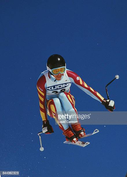Andy Chambers of the United States during the International Ski Federation Men's downhill at the Alpine Skiing World Cup event on 17 January 1987 in...