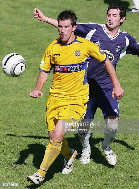 Andy Coburn of Otago attacks past Riki van Steeden of Auckland City during the round 17 New Zealand Football Championship match between Auckland City...
