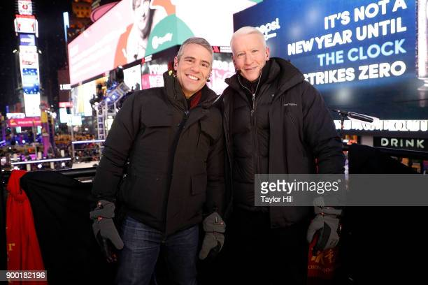 Andy Cohen and Anderson Cooper host CNN's New Year's Eve coverage at Times Square on December 31 2017 in New York City