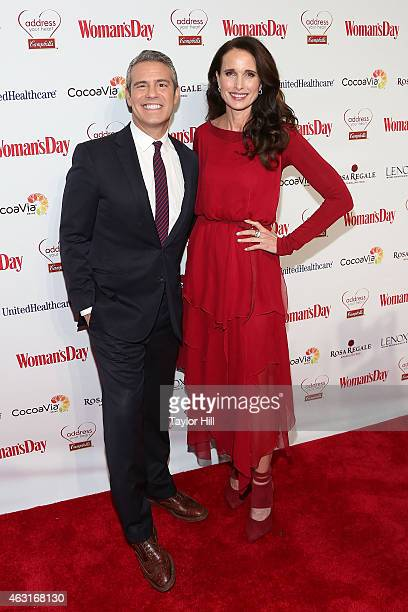 Andy Cohen and Andie MacDowell attend the 12th Annual Woman's Day Red Dress Awards at 10 Columbus Circle on February 10 2015 in New York City