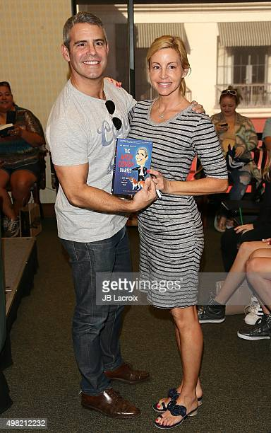 Andy Cohen and Camille Grammer attend a book signing for The Andy Cohen Diaries A Deep Look at a Shallow Year at Barnes Noble at The Grove on...