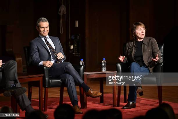 Andy Cohen and Camille Paglia attend TimesTalks Presents Camille Paglia and Andy Cohen at New York Society for Ethical Culture on April 18, 2017 in...