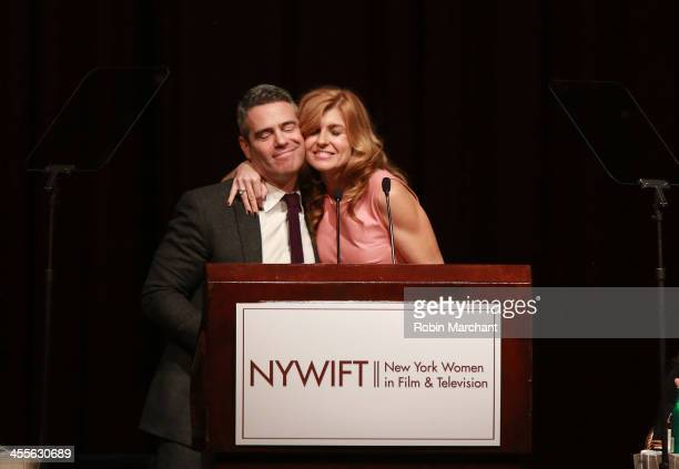 Andy Cohen and Connie Britton attends New York Women In Film And Television's 33rd Annual Muse Awards at New York Hilton on December 12 2013 in New...