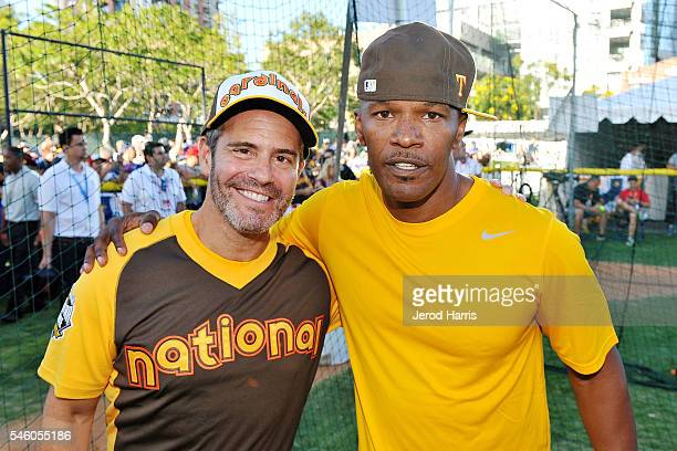 Andy Cohen and Jamie Foxx attend the AllStar Legends Celebrity Softball Game at PETCO Park on July 10 2016 in San Diego California