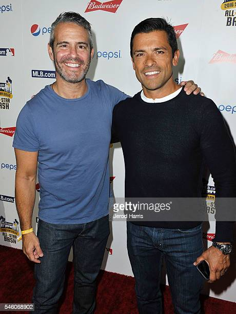 Andy Cohen and Mark Consuelos arrive at the MLBcom All Star Bash at the San Diego Convention Center's Sails Pavillion on July 10 2016 in San Diego...