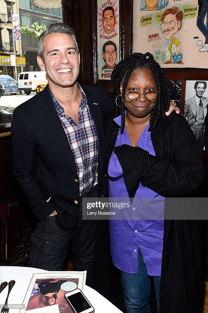 Andy Cohen (L) and Whoopi Goldberg attend CAA Foundation's School Day event benefiting donorschoose.org at The Palm One on September 18, 2014 in New York City.