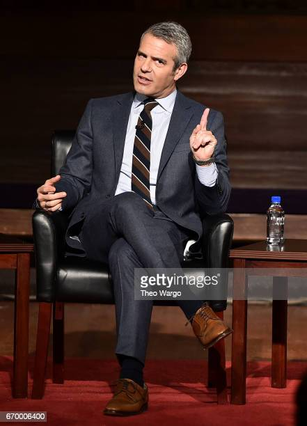 Andy Cohen attends TimesTalks Presents Camille Paglia and Andy Cohen at New York Society for Ethical Culture on April 18, 2017 in New York City.