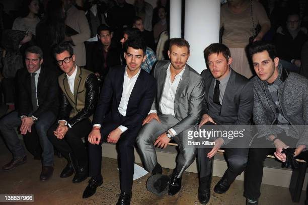 Andy Cohen Brad Goreski Joe Jonas Kellan Lutz Norman Reedus and Gabe Saporta attend the Simon Spurr Fall 2012 fashion show during MercedesBenz...