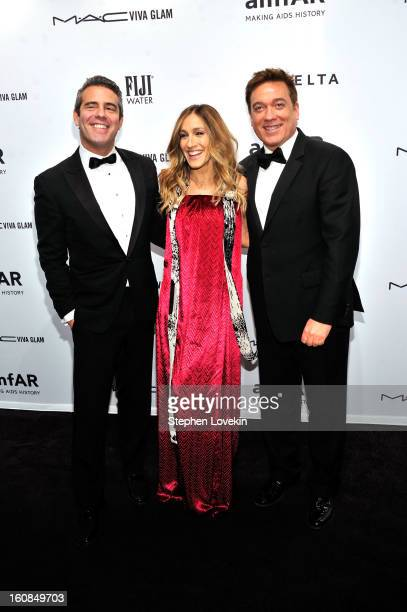 Andy Cohen Sarah Jessica Parker and Kevin Huvane attend the amfAR New York Gala to kick off Fall 2013 Fashion Week at Cipriani Wall Street on...