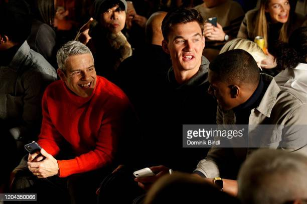 Andy Cohen Tyler Cameron and Matt James attend the Todd Snyder show during New York Fashion Week Men's at Pier 59 Studios on February 05 2020 in New...
