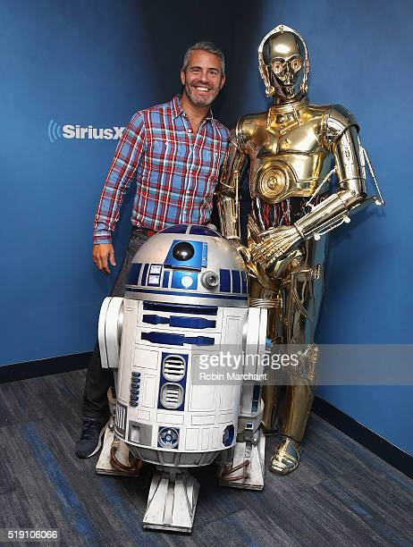 Andy Cohen with R2D2 and C3PO visit at SiriusXM Studio on April 4 2016 in New York City