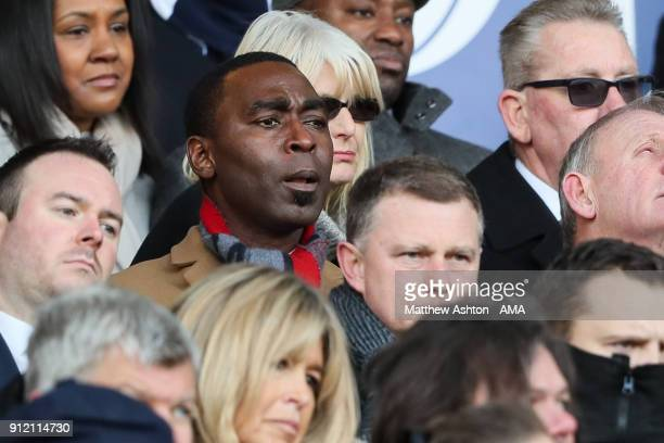 Andy Cole former player sits behind current Coventy City head coach / manager Mark Robins during the Cyrille Regis Memorial Service at The Hawthorns...