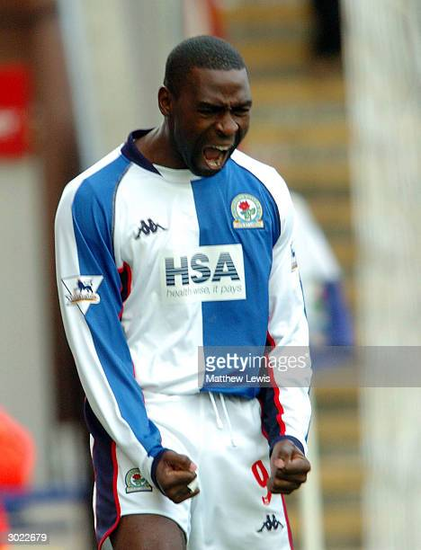 Andy Cole of Blackburn celebrates his goal during the FA Barclaycard Premiership match between Blackburn Rovers and Southampton at Ewood Park on...