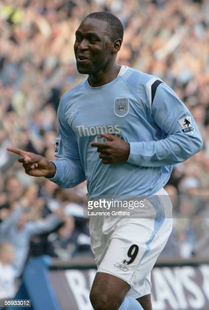 Andy Cole of Manchester City celebrates after scoring the opening goal during the Barclays Premiership match between Manchester City and West Ham...
