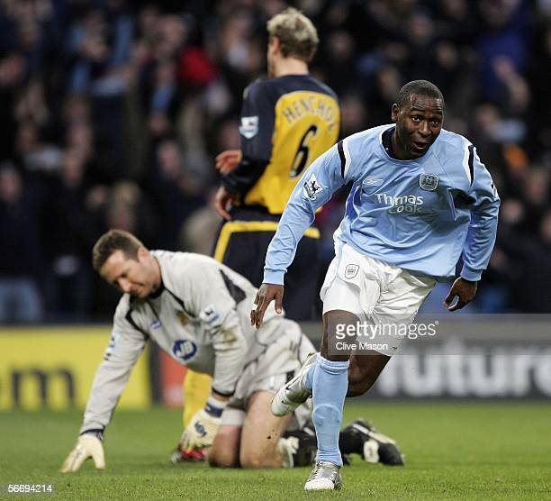 Andy Cole of Manchester City celebrates his goal during the FA Cup fourth round match between Manchester City and Wigan Athletic at the City of...