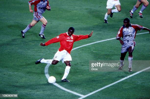 Andy Cole of Manchester United and Samuel Kuffour of Bayern Munich during the UEFA Champions league final match between Manchester United and Bayern...