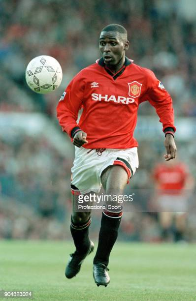 Andy Cole of Manchester United in action during the FA Carling Premiership match between Manchester United and Liverpool at Old Trafford on October...