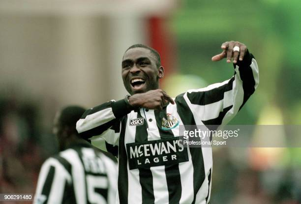 Andy Cole of Newcastle United celebrates after the FA Carling Premiership match between Arsenal and Newcastle United at Highbury on September 18 1994...