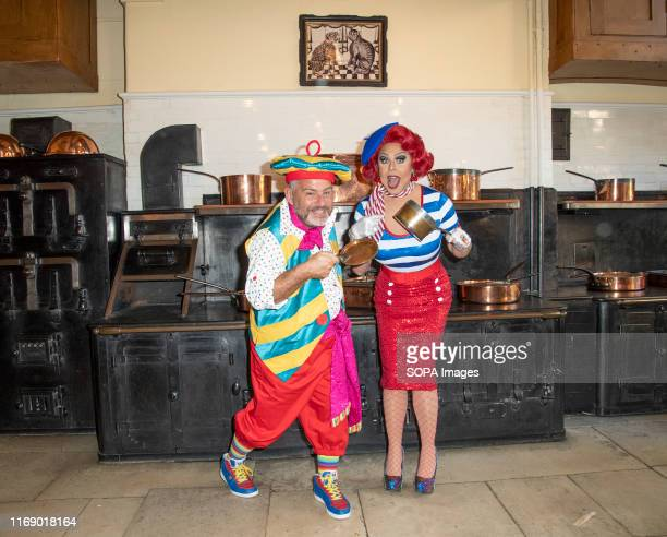 Andy Collins and La Voix attend the Beauty The Beast pantomime press launch at Waddesdon Manor Aylesbury