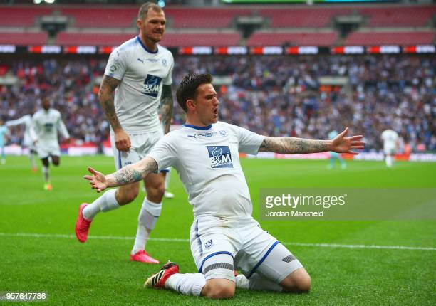 Andy Cook of Tranmere Rovers celebrates after scoring his sides first goal during the Vanarama National League Play Off Final between Boreham Wood...