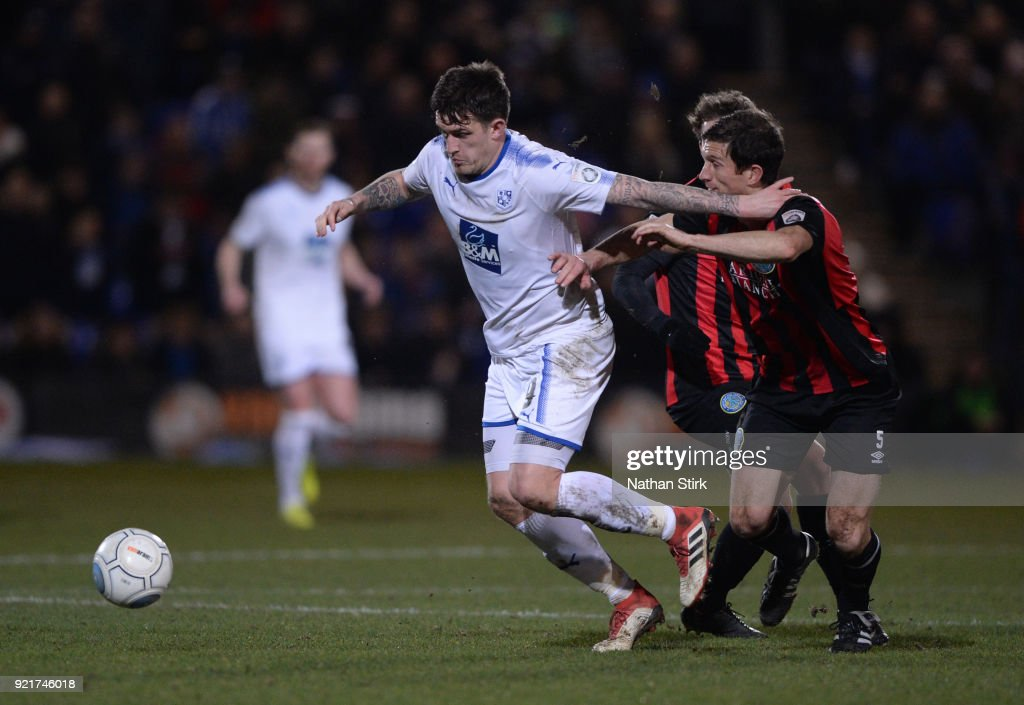 Andy Cook of Tranmere Rovers in action during the Vanarama National League match between Tranmere Rovers and Macclesfield Town at Prenton Park on February 20, 2018 in Birkenhead, England.
