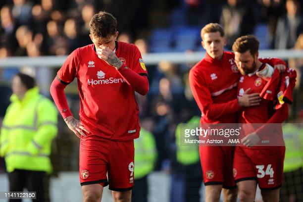 Andy Cook of Walsall reacts as his team are relegated during the Sky Bet League One match between Shrewsbury Town and Walsall at New Meadow on May 4,...