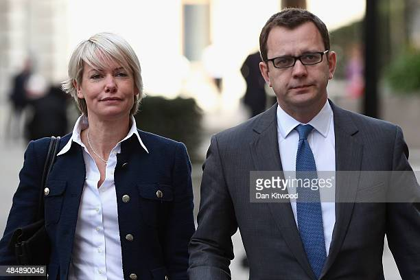 Andy Coulson arrives at the Old Bailey with his wife Eloise Coulson on April 15 2014 in London England Former government director of communications...