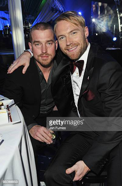Andy Cowles partner of Stephen Gately poses with Ronan Keating of Boyzone at Ronan Keating's fourth annual Emeralds and Ivy Ball in aid of Cancer...