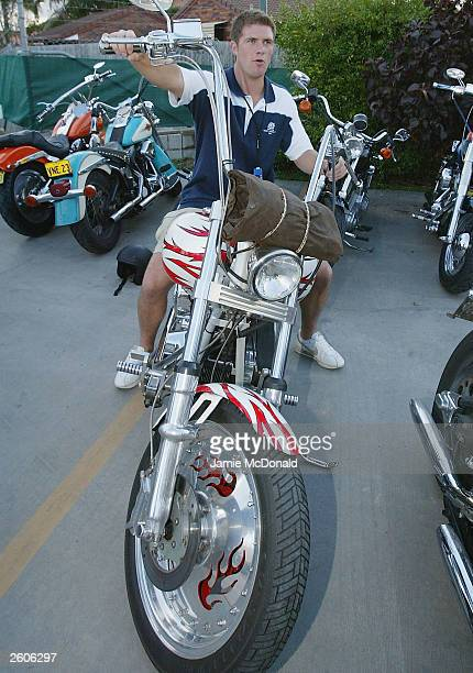 Andy Craig of Scotland on a Bandido's bike at the Ridges Hotel on October 17, 2003 in Caloundra, Australia.