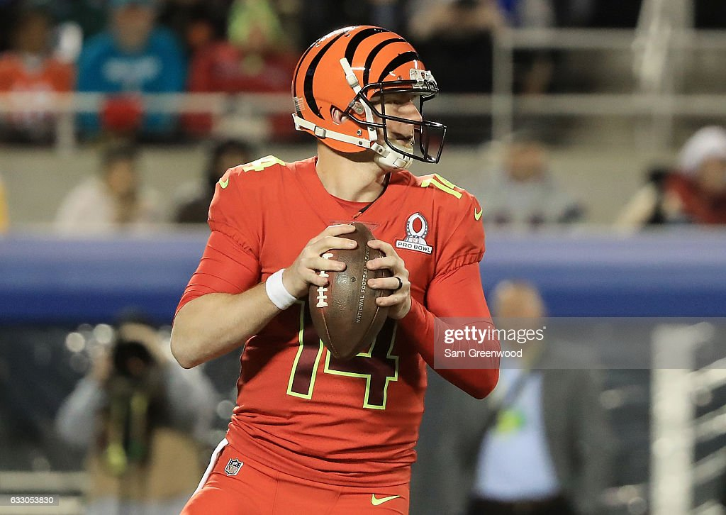 Andy Dalton of the AFC looks to pass in the first half against the NFC during the NFL Pro Bowl at the Orlando Citrus Bowl on January 29, 2017 in Orlando, Florida.