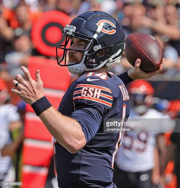 Andy Dalton of the Chicago Bears passes against the Cincinnati Bengals at Soldier Field on September 19, 2021 in Chicago, Illinois. The Bears...