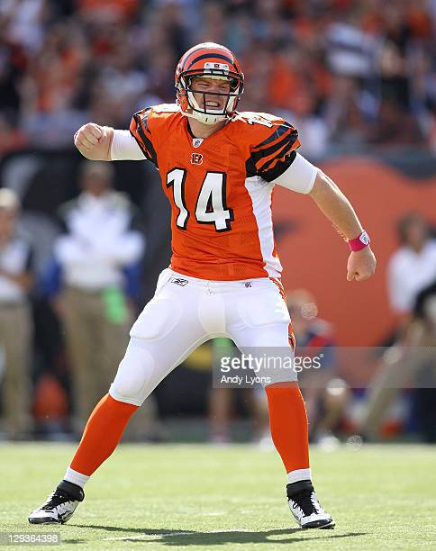 Andy Dalton of the Cincinnati Bengals celebrates after a touchdown during the NFL game against the Indianapolis Colts at Paul Brown Stadium on...