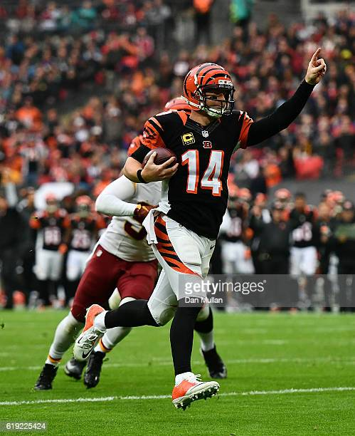 Andy Dalton of the Cincinnati Bengals celebrates as he runs in for a touchdown during the NFL International Series Game between Washington Redskins...