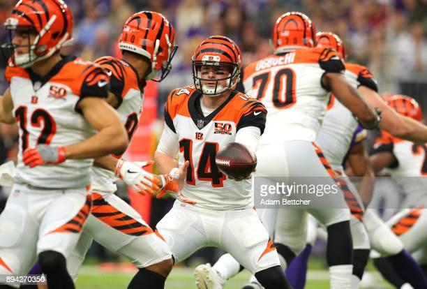 Andy Dalton of the Cincinnati Bengals hands the ball off to Josh Malone in the first quarter of the game against the Minnesota Vikings on December...