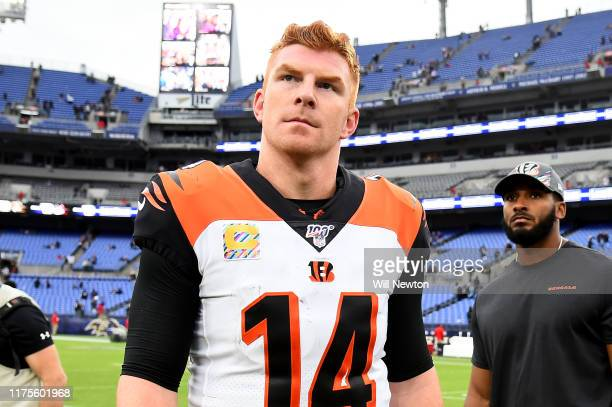 Andy Dalton of the Cincinnati Bengals looks on after playing against the Baltimore Ravens at MT Bank Stadium on October 13 2019 in Baltimore Maryland