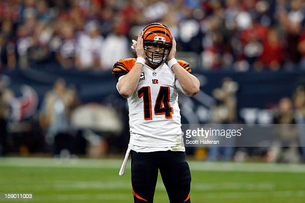 Andy Dalton of the Cincinnati Bengals reacts against the Houston Texans during their AFC Wild Card Playoff Game at Reliant Stadium on January 5 2013...