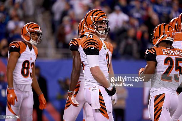 Andy Dalton of the Cincinnati Bengals reacts against the New York Giants during the fourth quarter of the game at MetLife Stadium on November 14 2016...