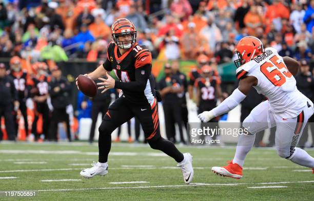 Andy Dalton of the Cincinnati Bengals runs during the game against the Cleveland Browns at Paul Brown Stadium on December 29, 2019 in Cincinnati,...