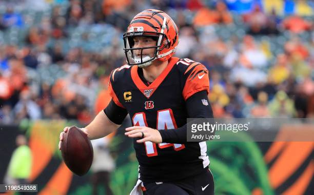 Andy Dalton of the Cincinnati Bengals runs for a touchdown during the game against the Cleveland Browns at Paul Brown Stadium on December 29, 2019 in...