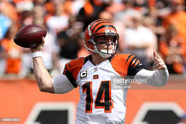 Andy Dalton of the Cincinnati Bengals throws a pass during the first quarter of the game against the San Diego Chargers at Paul Brown Stadium on...