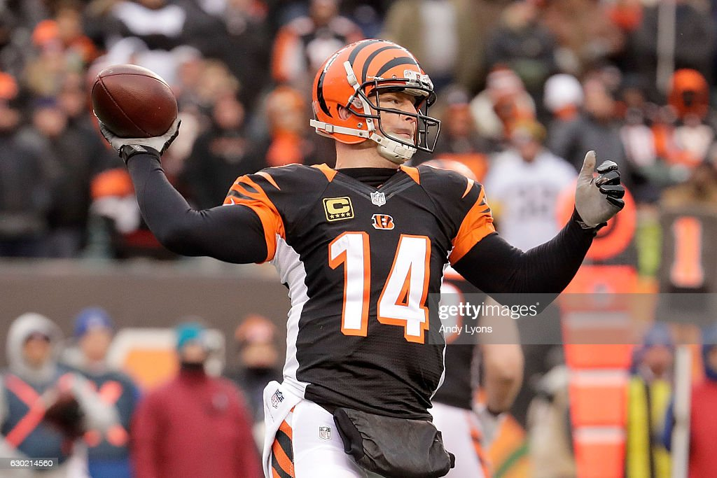 Andy Dalton #14 of the Cincinnati Bengals throws a pass during the fourth quarter of the game against the Pittsburgh Steelers at Paul Brown Stadium on December 18, 2016 in Cincinnati, Ohio. Pittsburgh defeated Cincinnati 24-20.