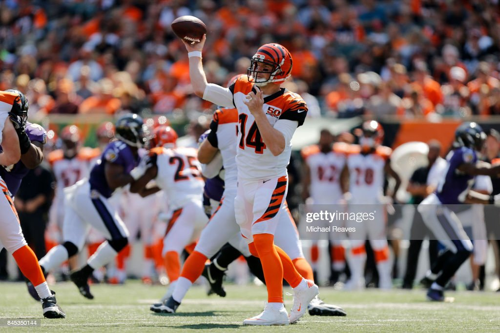 Andy Dalton #14 of the Cincinnati Bengals throws a pass during the third quarter of the game against the Baltimore Ravens at Paul Brown Stadium on September 10, 2017 in Cincinnati, Ohio.