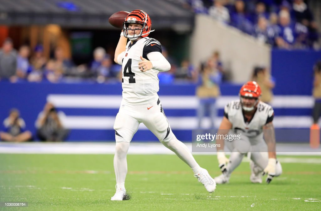 Andy Dalton #14 of the Cincinnati Bengals throws a pass in the game against the Indianapolis Colts at Lucas Oil Stadium on September 9, 2018 in Indianapolis, Indiana.