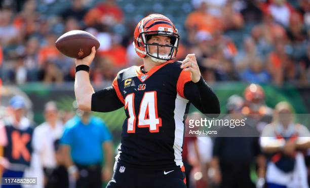 Andy Dalton of the Cincinnati Bengals throws the ball during the game against the San Francisco 49ers at Paul Brown Stadium on September 15 2019 in...