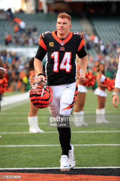 Andy Dalton of the Cincinnati Bengals walks off of the field after the 2717 loss to the Jacksonville Jaguars at Paul Brown Stadium on October 20 2019...