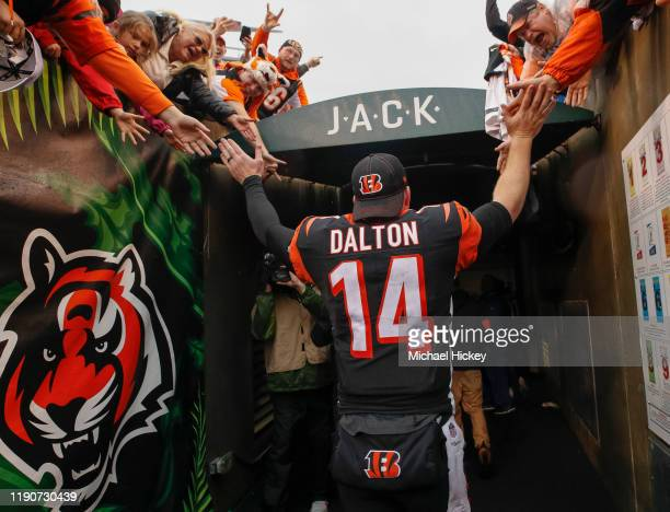 Andy Dalton of the Cincinnati Bengals walks thru the tunnel to the locker room following the game against the Cleveland Browns at Paul Brown Stadium...