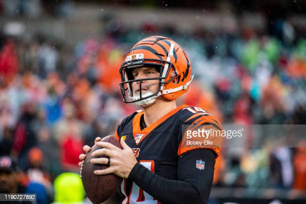 Andy Dalton of the Cincinnati Bengals warms-up before the start of the game against the Cleveland Browns at Paul Brown Stadium on December 29, 2019...