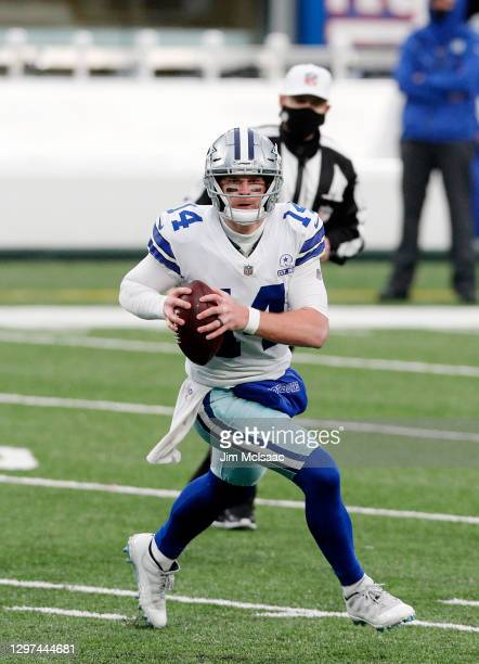 Andy Dalton of the Dallas Cowboys in action against the New York Giants at MetLife Stadium on January 03, 2021 in East Rutherford, New Jersey. The...